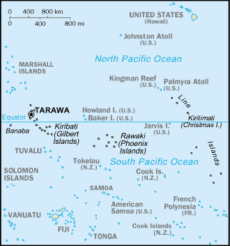 Map of Kiribati.