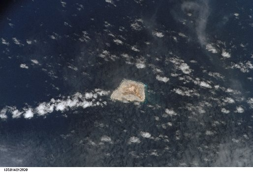 A satellite photograph of Jarvis Island taken on January 29th, 2007 by an astronaut