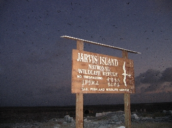 Jarvis Island No Tresspassing sign